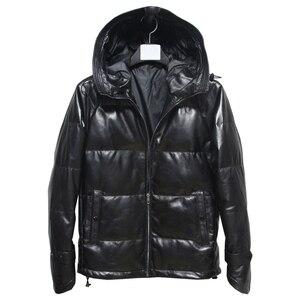 Image 1 - Livraison gratuite, veste en cuir véritable pour hommes. Manteau en duvet de canard blanc en peau de mouton noir. Vêtements grande taille, M 5XL de vente