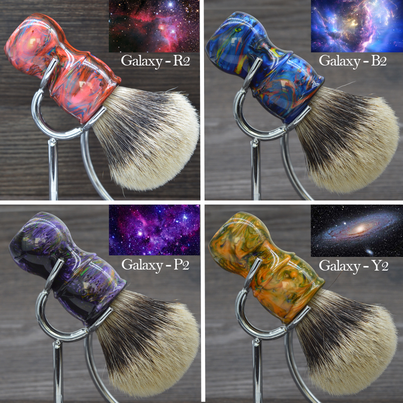 Dscosmetic 26mm Galaxy Resin Handle 2 Band Silvertip Badger Hair Shaving Brush