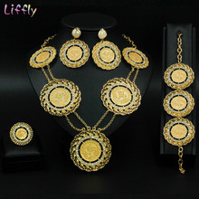 Liffly Bridal Gift Dubai Gold Jewelry Sets for Women Fashion Choker Necklace Nigerian Wedding Big African Beads Jewelry Set(China)