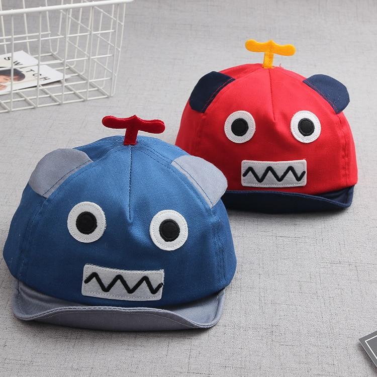 Boys Girls Robot Caps With Ears Children Visor Kids Beanie Hip Hop Hats Baby Sunshade Hats Casquette Baseball Cap Snapback DS19