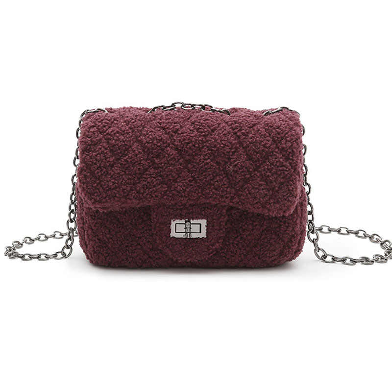 Winter New Brand Designer Fur Women Cross Body Bag Female Woolen Chain Worm Messenger  Bags Fashion 543964c76f5a1