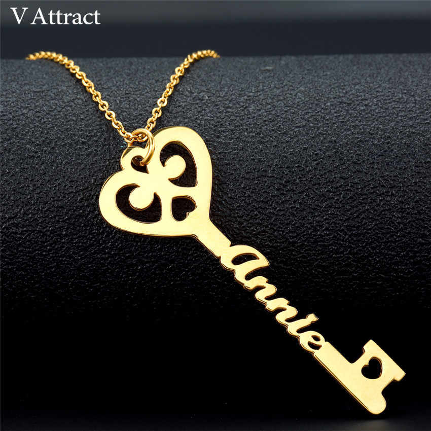 Wedding Gift Custom Jewelry Personalized Name Key Necklace Women Men Heart Statement Necklaces Stainless Steel Chain Collier