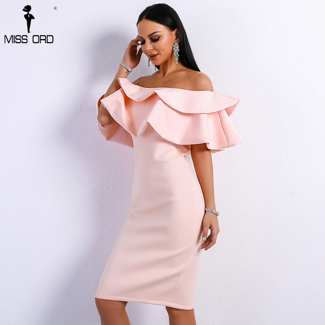 Missord 2018 Summer Sexy Off Shoulder Slash Neck Ruffles Backless Dresses Female Split Elegant Solid Color  Dress FT9076