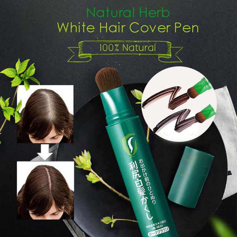 Natural Herb White Hair Cover Pen Long Lasting Black Brown Temporary Hair Dye Cream Mild Fast