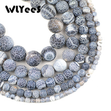 WLYeeS Natural Stone Black Weathered carnelian beads 4/6/8/10/12 mm Round Spacer Loose Bead Jewelry bracelet Necklace making DIY