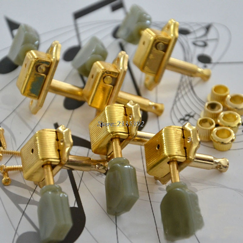 Gold Deluxe Guitar Tuning Pegs Tuners Green Button For Guitar Keys Machine Heads yibuy 3r3l black guitar tuning keys machine heads for lp etc guitar