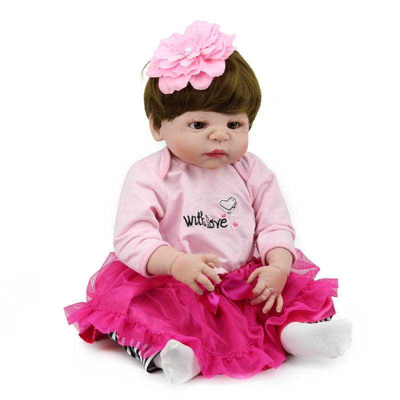 Full Silicone Reborn Baby Doll 55Cm Lifelike Baby Alive Wholesale Newborn Baby Doll Promotion Price B7