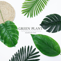 Long Artificial Palm Leaves 10pcs Green Plants Decorative / Artificial Flowers for Party Decoration Wedding Decoration