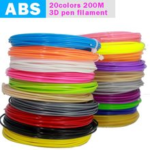 BAPASCO  3D Pen Filament thread 100M Or 200M 1.75mm ABS 20 Different Colors for 3D printing pens wire rod 3D linear