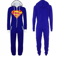 Anime Superman Batman Costume Supergirl Batgirl Adult Onesie Women Men All In One Pajamas Hood Playsuit