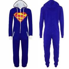 Купить с кэшбэком Anime Superman Batman costume Supergirl Batgirl Adult onesie Women Men All In One pajamas Hood Playsuit Plus Size Jumpsuit
