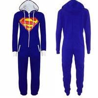 Anime Superman Batman Costume Supergirl Batgirl Adult Onesie Women Men All In One Pajamas Hood Playsuit
