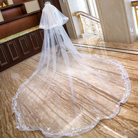 Women Luxury 4 Meters Long Cathedral Wedding Bridal Veils Lace Party Accessories 2020 In Stock
