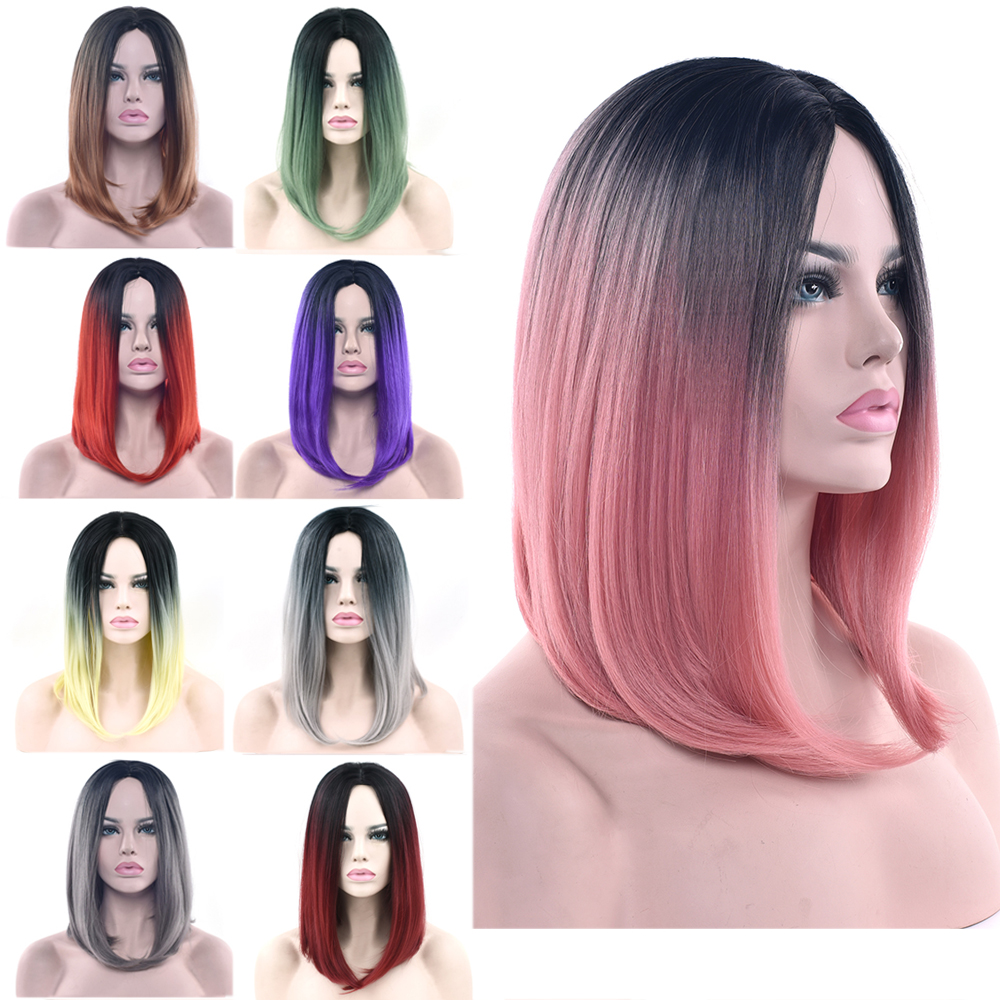 Soowee 11 Colors Black To Pink Ombre Hair Straight Bob Wigs Synthetic Hair Short Party Hair Cosplay Wig for Women(China)