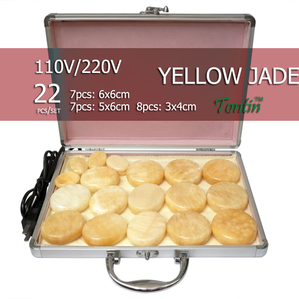 NEW Tontin 22pcs/set yellow jade body massage hot stone beauty salon SPA tool with heating box 110V or 220V ysgyp-nls