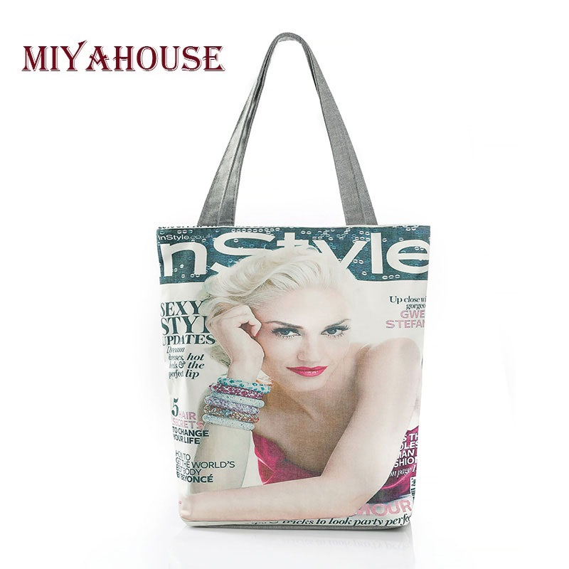 Miyahouse Magazine Printed Shoulder Bag Women Summer Canvas Female Handbag Tote Bags Ladies Vacation Beach Bag Shopping Bags forudesigns floral printed shoulder bags women large capacity female shopping bag summer ladies beach handbag blosas feminina