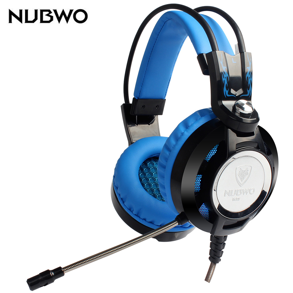 NUBWO K6 Stereo Over Ear Gaming Headset Headband Earphone Gamer  Heaphone with Microphone USB LED Lighting for PC Computer led bass hd gaming headset mic stereo computer gamer over ear headband headphone noise cancelling with microphone for pc game