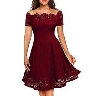 Off Shoulder Dress A Line Dress Lace Women Summer Red Purple Blue Black High Waist Elegant Robe Dames Zomerjurk Dames 2019