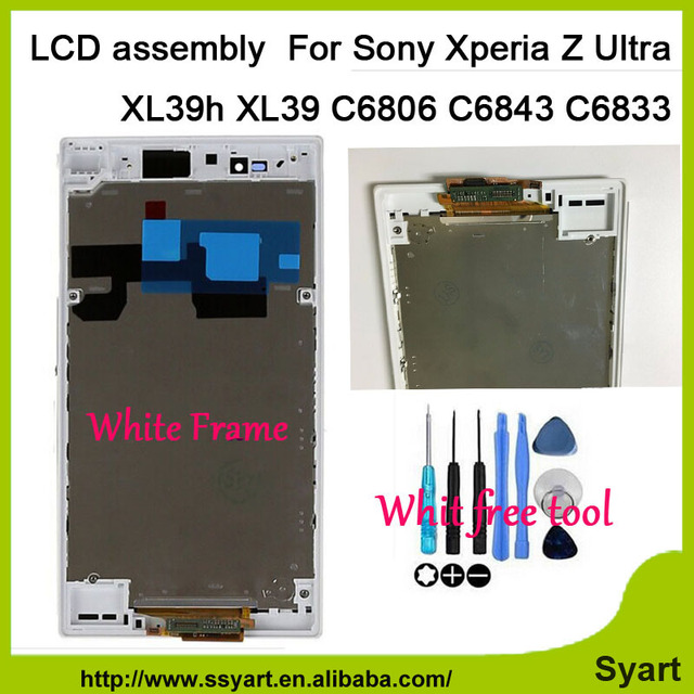 "6.44"" LCD Display Touch Screen Digitizer Assembly with white Frame/bezel For Sony Xperia Z Ultra XL39h XL39 C6806 C6843 C6833"
