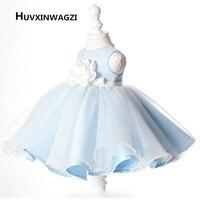 HUVXINWAGZI Hot Sale Flower Girl Communion Dress A Line Satin Dresses Cute Bow A Line Girl