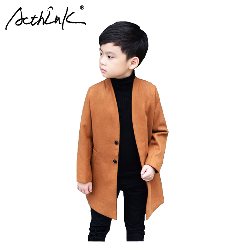ActhInK New 2017 Boys Winter Long Trench Woolen Coat Brand Kids Winter Thick Blends England Style Boys Jacket with Pocket, C284 цена