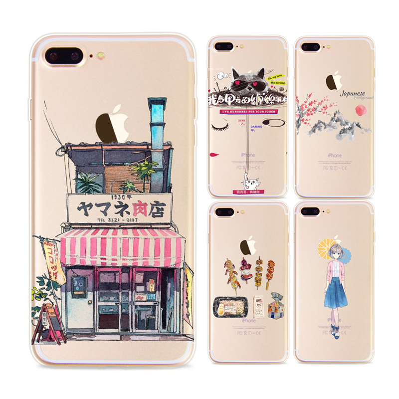 Beautiful Japanese Style Unique Design Cat Girl Case For iPhone 5s 6 6Plus 7Plus 7 Transparent Soft Silicon TPU Protector Coque