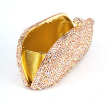 LaiSC Champagne Evening Clutch Bag Crystal Party Purse Female Chain Bag Luxury Rhinestone Wedding Bag Bridal Clutch SC305