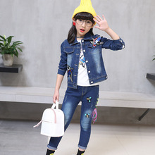 Childrens wear cowboy suit 2019 spring and autumn new baby girl cartoon bird print denim coat+jeans body clothing set