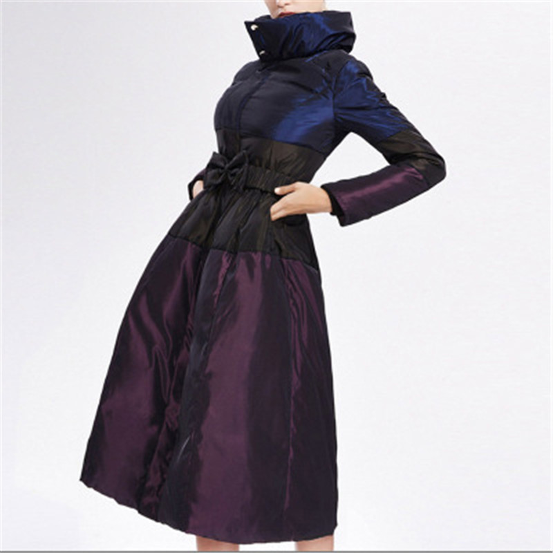 Women Winter X-Long   Down   Jacket 2018 European Style Vintage Large purple Cotton clothing Jacket Winter   Coat   Parka S-4XL D410-1