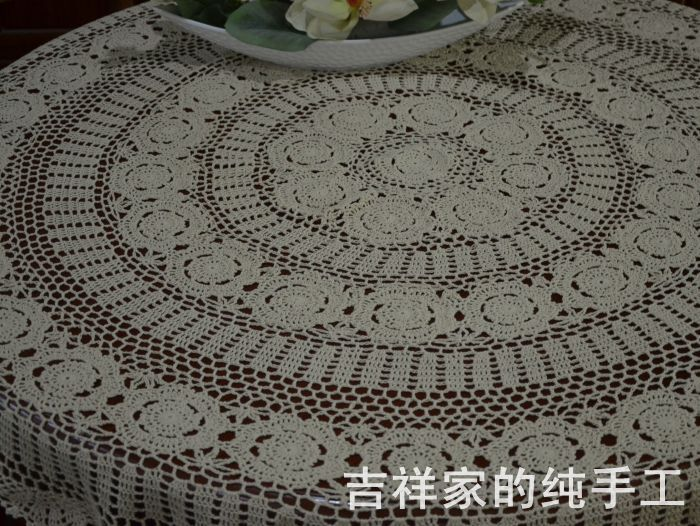 Free Shipping 2015 New Arrival Fashion Cotton Crochet Lace Tablecloth With  Flower For Home Decor Round