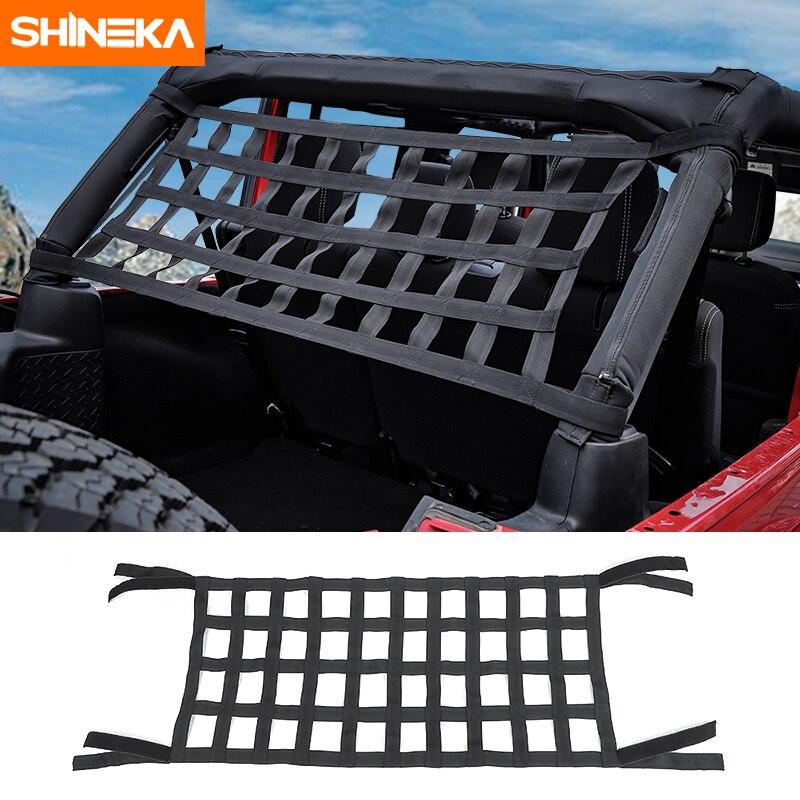Shineka superior telhado rede de rede à prova dwaterproof água capa resto armazenamento rede para jeep wrangler tj jk jku jl 1997-2019 acessórios exteriores