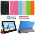 3-кратный Slim Кожа Стенд Дело Обложка для 7 inch Lenovo IdeaTab S5000 3 Г WI-FI Android Tablet 8 Цвет + Ручка Экрана подарок