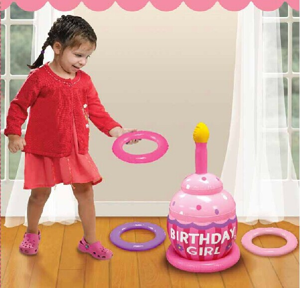 2016 Hot Sales Lovely Pvc Inflatable <font><b>Birthday</b></font> Throwing Games Children Cake Set Of Loops Ring Toy For Kid Gift Early Education