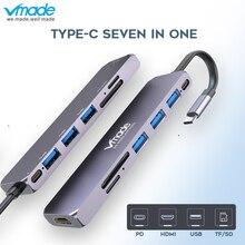 Vmade 7 em 1hub hub multiport USB C 4 k hd porta de saída de vídeo sd tf cartão usb leitor 3.1 c tipo usb 3.0 porta para macbook pro