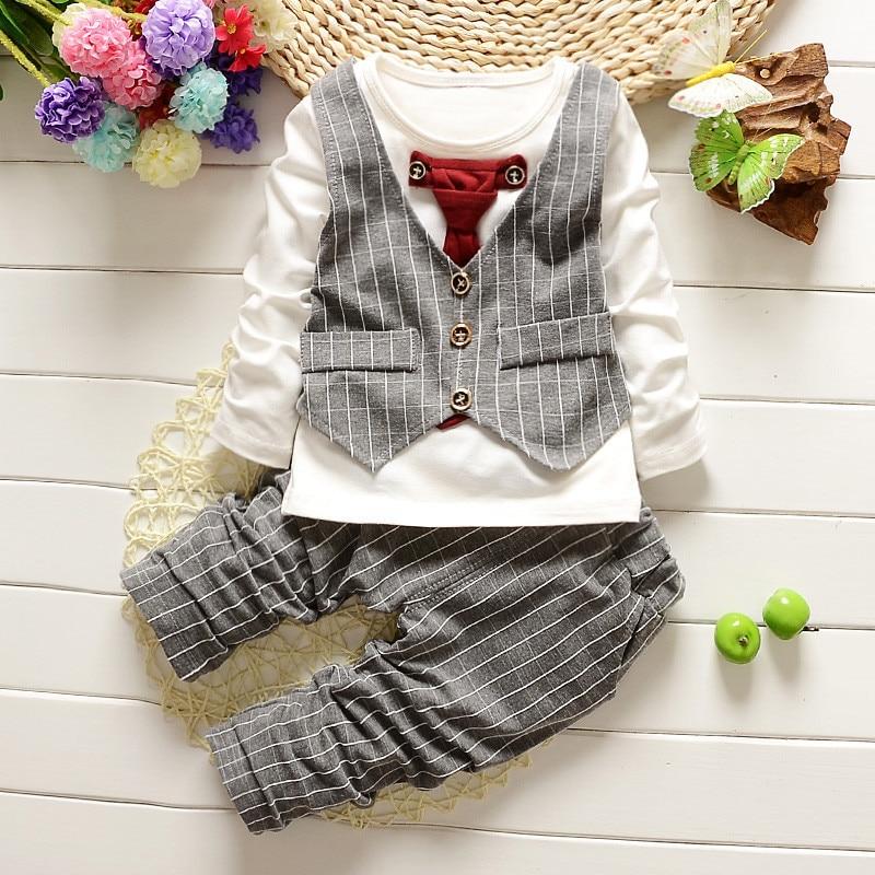 2PCS Baby Boy Drabužiai Gentleman Pavasario Ruduo Vaikai Stripe Long - Kūdikių drabužiai - Nuotrauka 2