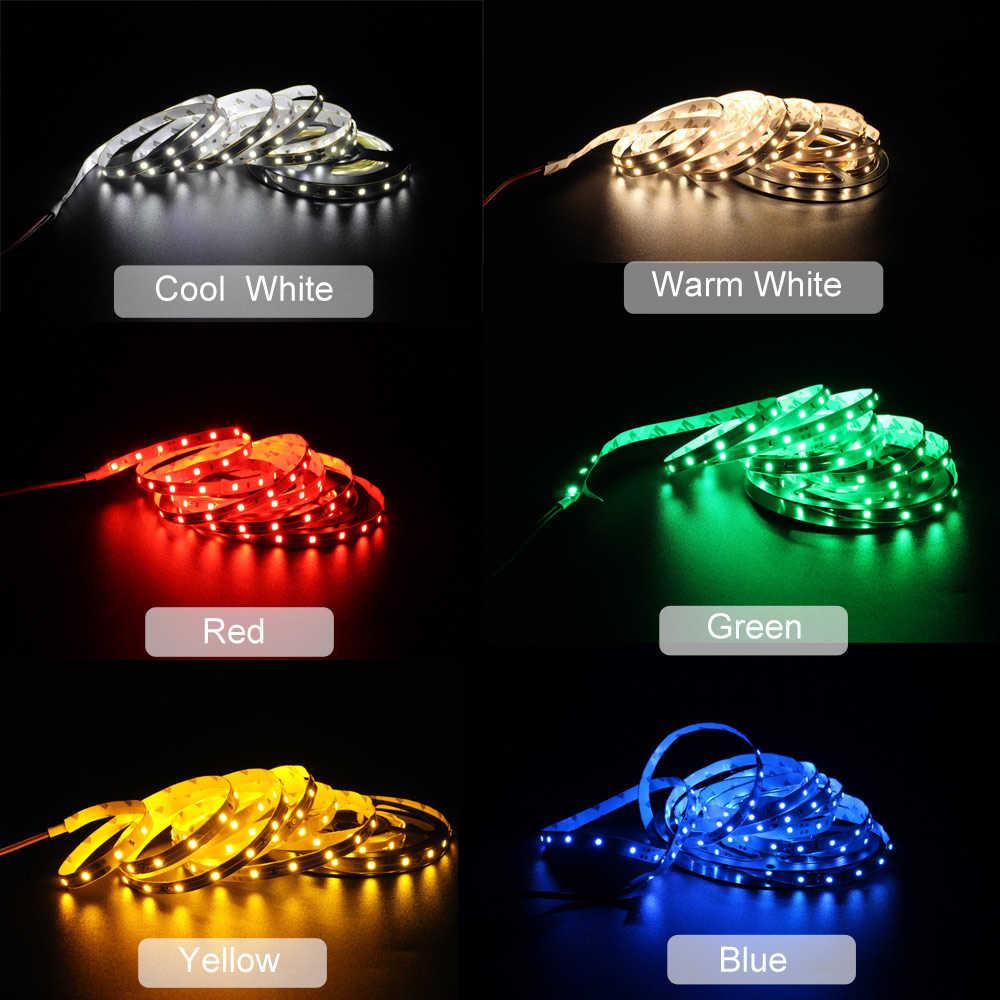 Lampu LED Strip 12 V 5 M RGB SMD 2835 Tahan Air Tira LED 12 Volt Fita Latar Belakang TV Ambilight Tape garis Pita Bias Lampu