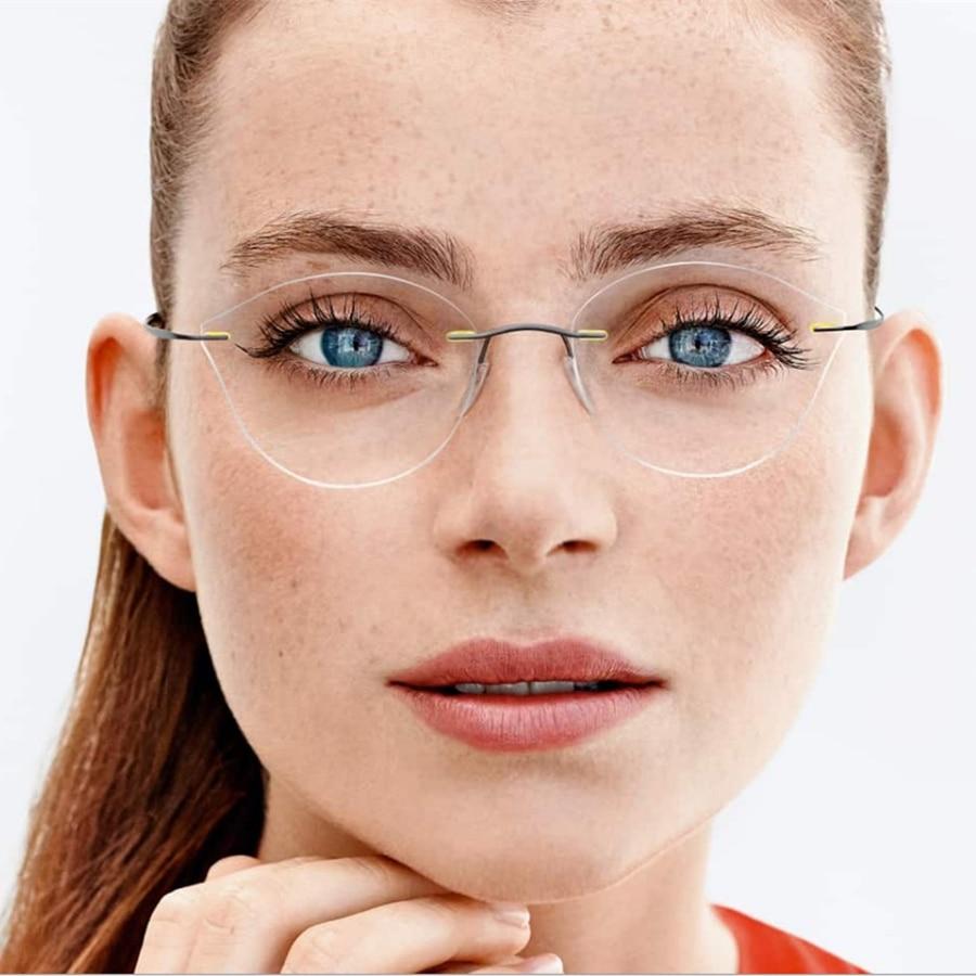 2017 frauen cat eye brillen rahmen myopie randlose brillen ultraleicht augen tragen metall gafas oculos de grau feminino