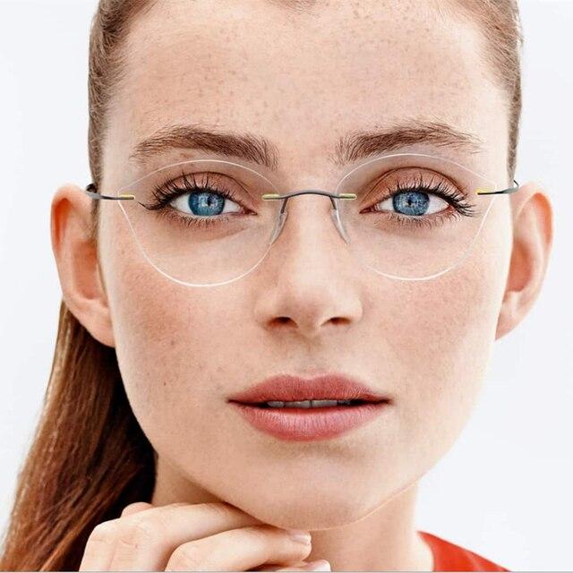 2563bbed728bc 2017 femmes lunettes De vue De chat cadre myopie sans monture lunettes  ultralégères en métal Gafas