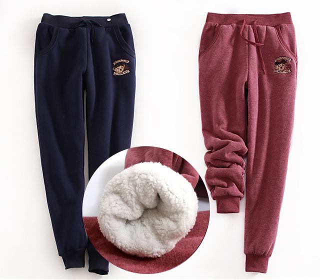 Outono e Inverno As Mulheres Harem Pants Casuais Além de Veludo Espessamento Soltas Calças Femininas Velo Calças Compridas