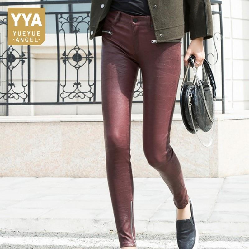 Одежда высшего качества для женщин овчины 100% натуральная кожа карандаш брюки для девочек стрейч пикантные узкие леггинсы уличная мотобрюк
