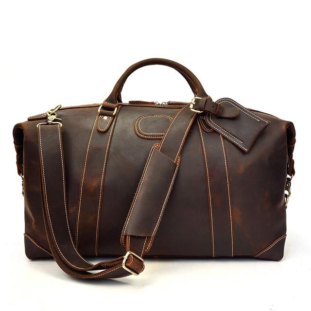 MAHEU 100% Genuine Crazy Horse Leather Men Travel Bags With Rivet Big HandBag For Male Cowhide Duffel Bag Mans Travelling Bag 4