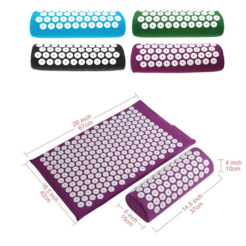 Acupressure Massage Mat with Spike and Cushion Set for Back and Neck Pain to release Stress Pain and tension 5