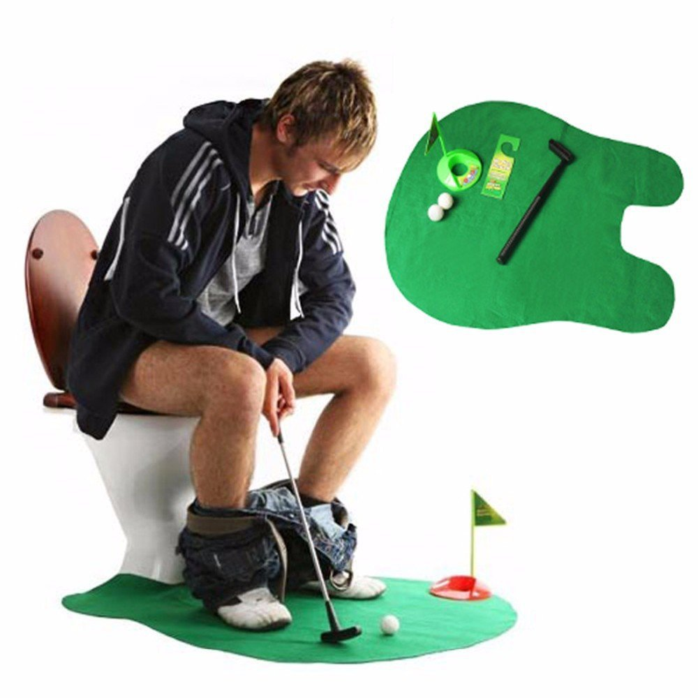 Potty Putter Toilet Golf Game Mini Golf Set Toilet Golf Putting Practical Jokes Toys Golf beginners training toy kids child gift