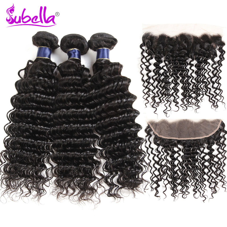 Subella Peruvian Deep Wave Hair 3 Bundles With Frontal Closure 100% Human Hair Weft Weave 3 Bundles With Lace Frontal