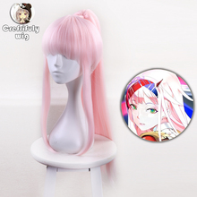 65cm DARLING in the FRANXX 02 Cosplay Wig Synthetic Hair ZERO TWO Long Pink Wigs With One Clip On Ponytail Anime Hairpiece стоимость