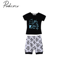 pudcoco summer short sleeve o-neck pullover Toddler Kids Baby Boy Vest T-shirt Tops+Short Pants Shorts Outfits Clothes Set 0-4Y