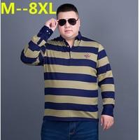 10XL 9XL 8XL 6XL 5XL 4XL Men S Long Sleeved Polo Shirt Plus Size Striped Stand