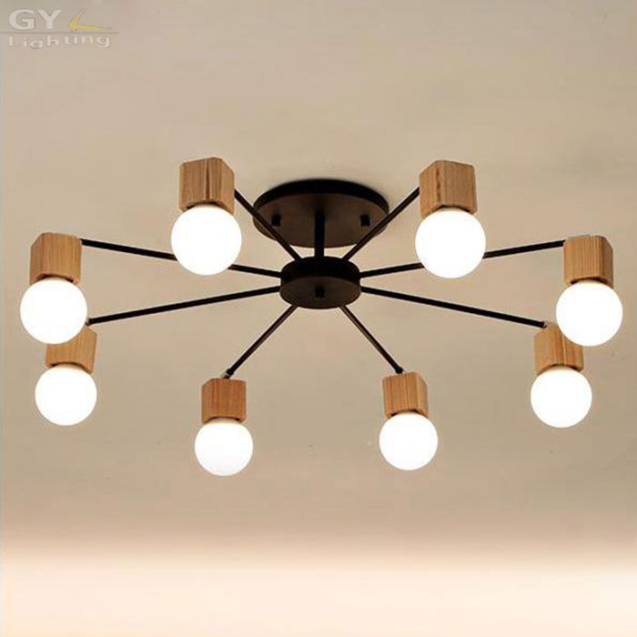 RH Loft  Wood E27 LED Bulb Ceiling Lights Fixture Home Deco Living Room Iron Ceiling Lamp Modern Lustres De Sala Plafon rh loft wood e27 led bulb ceiling lights fixture home deco living room iron ceiling lamp modern lustres de sala plafon