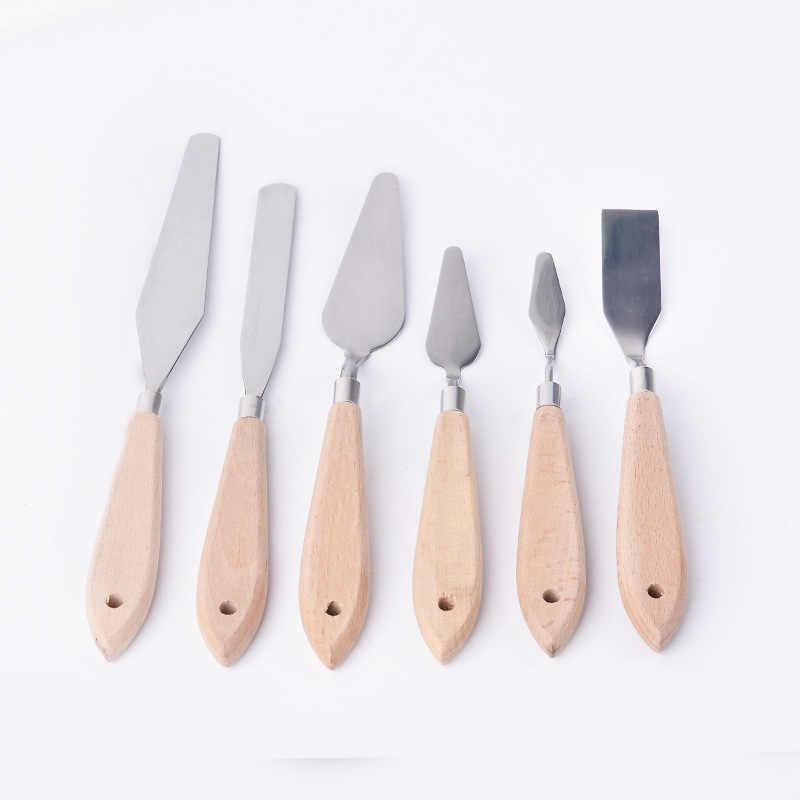 شعبية الخشب مقبض اللوحة سكين الفولاذ المقاوم للصدأ المهنية أدوات الرسم على الحائط عالية الجودة الفنون ملعقة 1 قطعة رائجة البيع