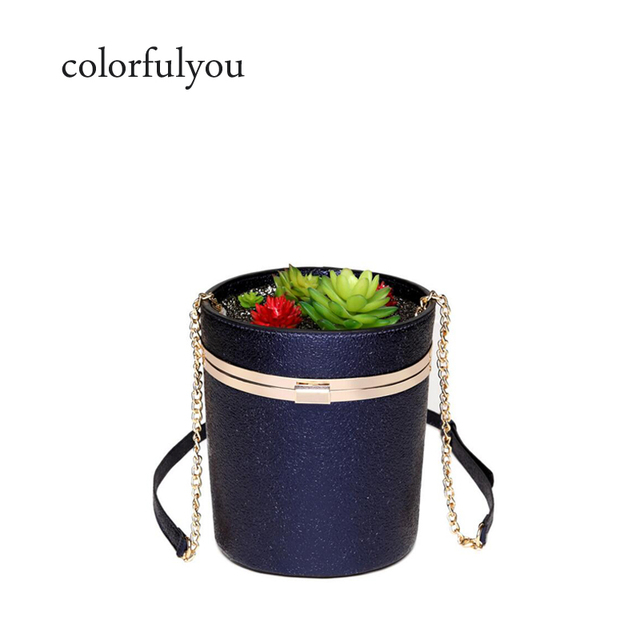 eb7b3feaffb7 Women Laser handbags ladies PU leather bucket bag Fun shinning flower pot messenger  bag potted plant shaped women s shoulder bag